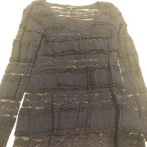 Express Navy Lace Long Sleeve Shirt